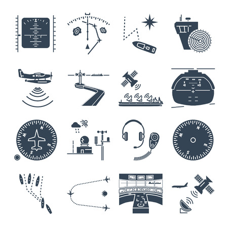 Set of black icons sea and air navigation, piloting, equipment, devices.