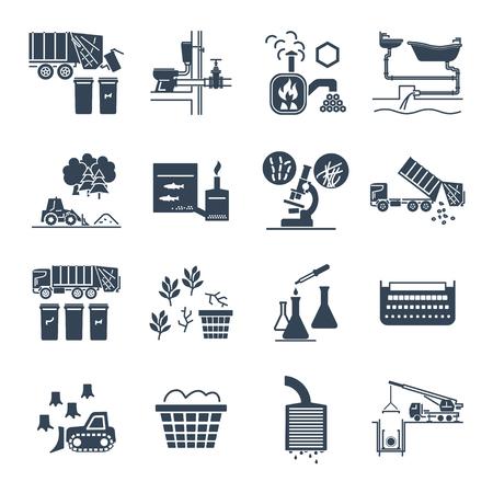 Set of black icons waste, garbage, refuse, sewage, sewerage, recycling.