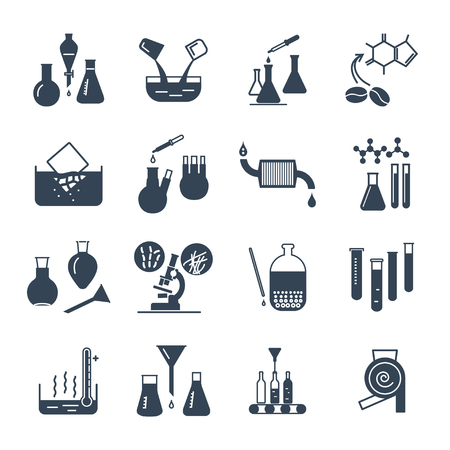 set of black icons chemical laboratory equipment and test-tubes