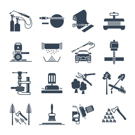 set of black icons electrical hand tools, equipment, repair