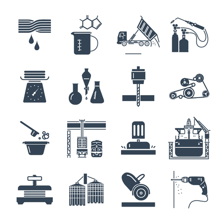 set of black icons industrial production, making process, factory, equipment Ilustração