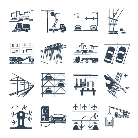 set of black icons transport infrastructure, road, air, train Illustration