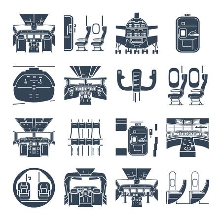 set of black icons cockpit airplane, ship, cabin interior Illustration