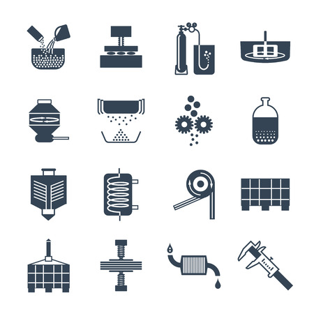 Set of black icons industrial production, fabrication process, factory, technology, equipment Vettoriali