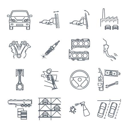 Satz Wartung Wartung Reparatur von Autosymbolen Vektorgrafik