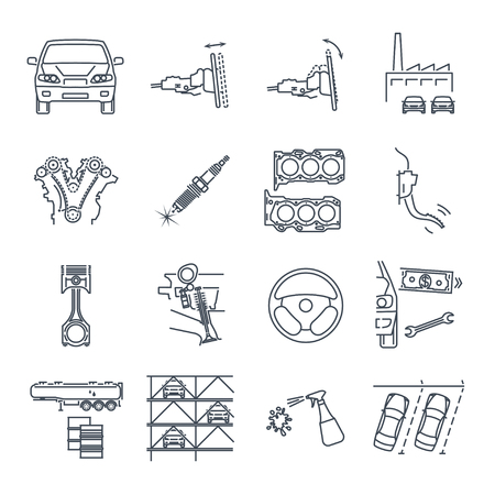 Set of servicing maintenance repair of car icons
