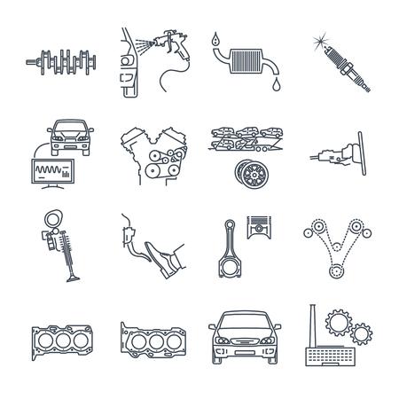 Set of servicing maintenance repair of car icons