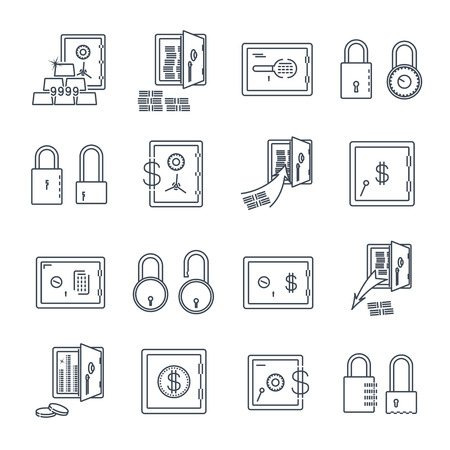 Set of safe lock and money icons Иллюстрация