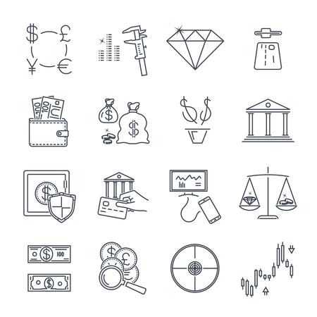 set of thin line icons business, finance, money, exchange Ilustrace