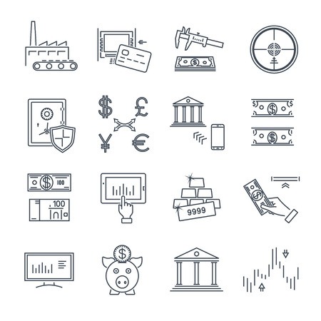 set of thin line icons business, finance, money, currency