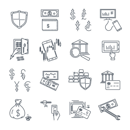 set of thin line icons business, finance, money, atm Ilustrace