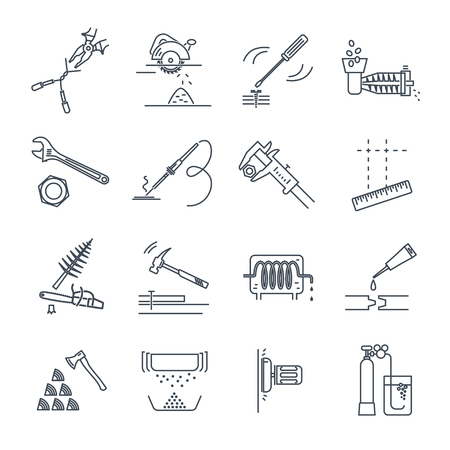set of thin line icons tools and equipment, adjustable wrench, circular saw Ilustracja
