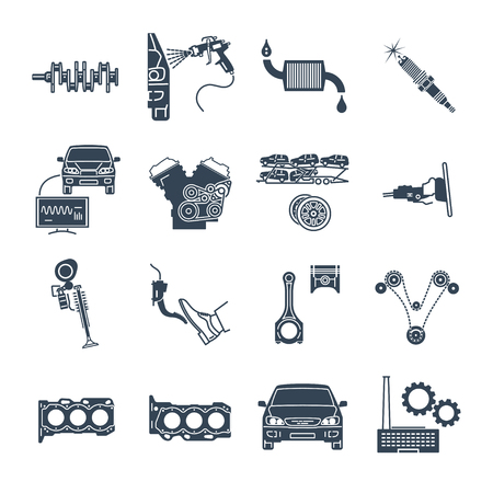 set of black icons servicing, maintenance, repair of car and automobile