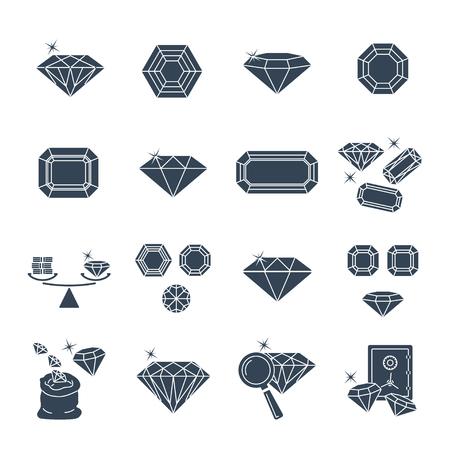 set of black icons gemstone, jewelry, brilliant Vecteurs