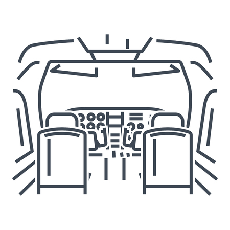 thin line icon interior of cockpit private airplane, instrument panel
