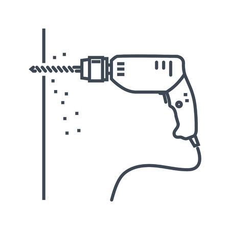 vector dunne lijn pictogram elektrische boor, muur boren