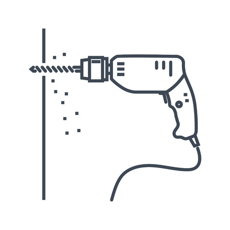 vector thin line icon electric drill, wall drilling Ilustração