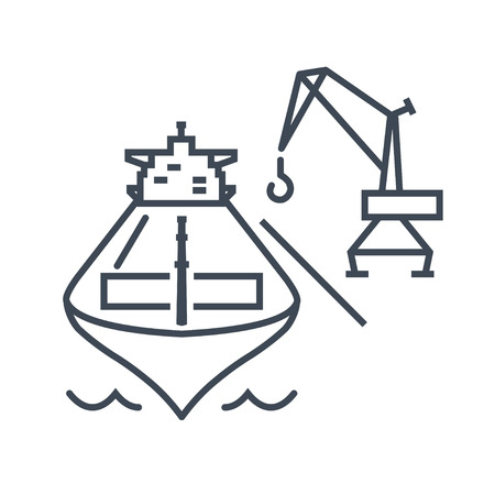 thin line icon loading and unloading cargo ship, harbor crane Illustration