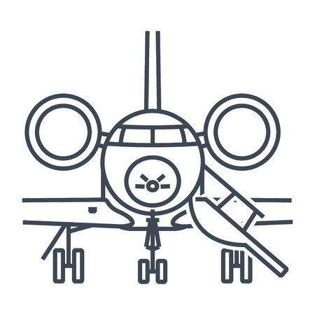thin line icon private business jet airplane  Illustration