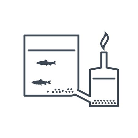 thin line icon breeding fish, fish farming, aquaculture, removal, recycling waste  イラスト・ベクター素材