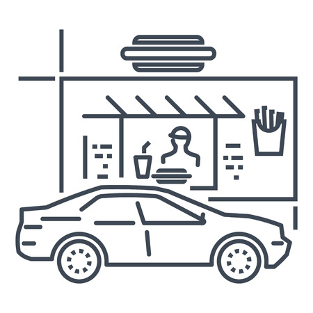 icône de fine ligne au volant d'un restaurant, d'une restauration rapide, d'une voiture