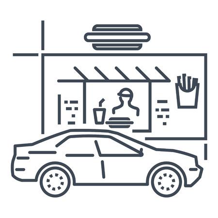 icona linea sottile guida attraverso ristorante, fast food, auto
