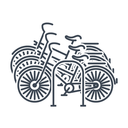 thin line icon bicycle, bike parking