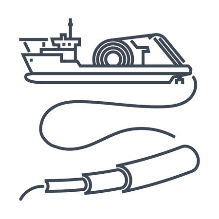 thin line icon cable layer ship Ilustração