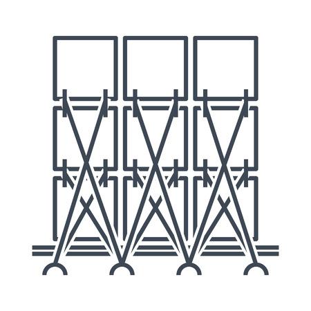 Dünne Linie Symbol Ladungssicherung, Ladungssicherung für Schiff, Flugzeugtransport Vektorgrafik