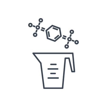 Détergent à lessive icône fine ligne, nettoyant, formule chimique