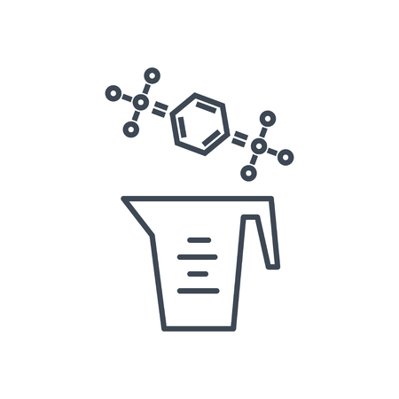 thin line icon laundry detergent, cleaner, chemical formula Illustration