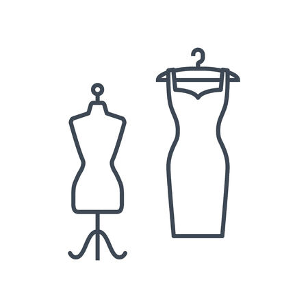 thin line icon clothes hanger with dress and mannequin Ilustrace
