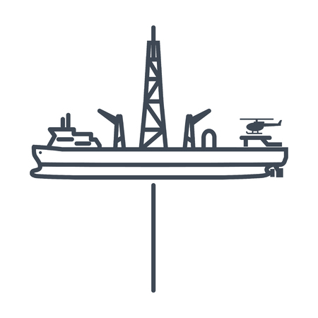 thin line icon drillship, gas and oil rig