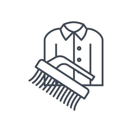 thin line icon dry cleaning clothes, brush