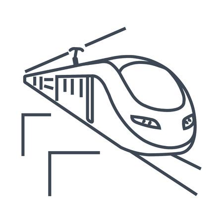 thin line icon high speed passenger  electric train, railway