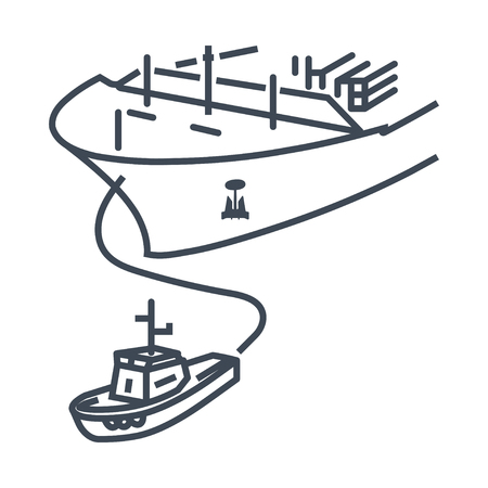 thin line icon tugboat assisting cargo ship sea