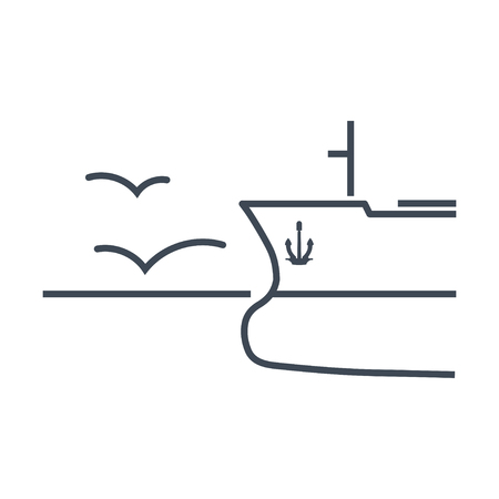 thin line icon  ship in open sea Ilustrace