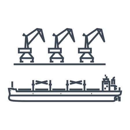 thin line icon cargo ship in port, bulk carrier, harbor crane Illustration