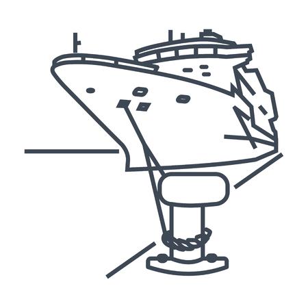 Icono de línea delgada barco amarrado en el puerto, bolardo con amarras Ilustración de vector
