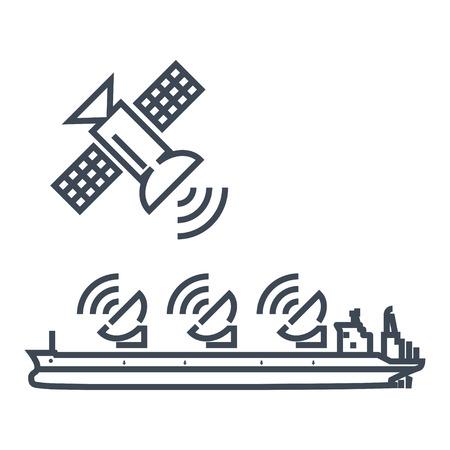 dünne Linie Symbolradar, Antenne auf dem Schiff, Satellitenschüssel, Verbindung Vektorgrafik