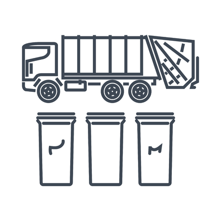 thin line icon garbage truck, recycle bins, trash cans