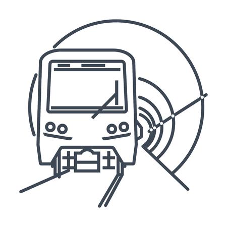thin line icon underground tunnel and metro train, subway, railway