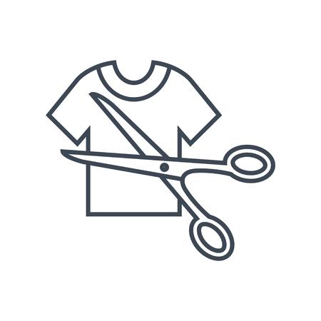 dünne Linie Symbol zum Schneiden von Kleidung mit einer Schere Vektorgrafik