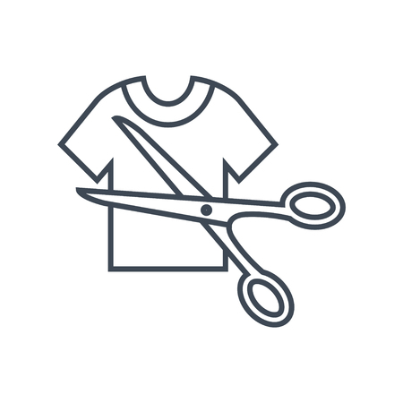 thin line icon cutting clothes using scissors