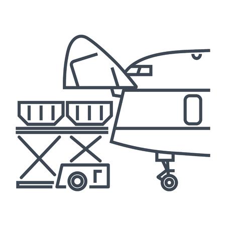 Conteneurs de fret à icône de ligne mince chargés dans un avion de fret, un avion, un conteneur et un chargeur de palettes