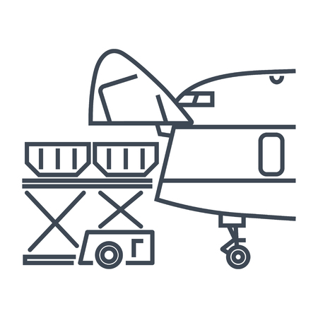 thin line icon cargo containers loaded into freight aircraft, airplane, container and pallet loader