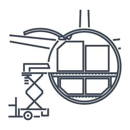 Conteneurs de fret à icône de ligne mince chargés dans un avion de fret, un avion, une plate-forme de chargement Vecteurs