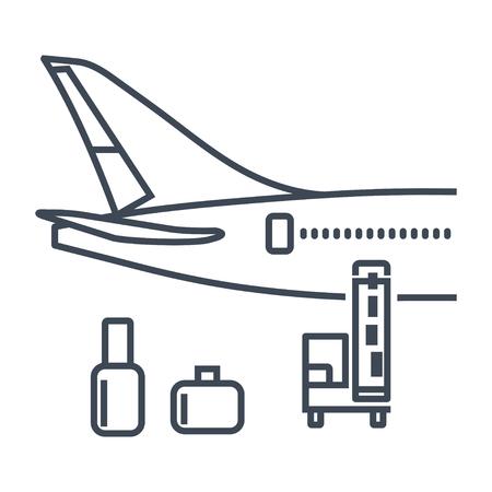 bagages icône fine ligne, marchandises, fret chargé dans l'avion, chargeur à bande, transporteur