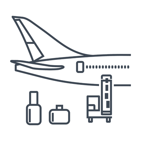 thin line icon luggage, goods, cargo loaded on the plane, belt loader, transporter