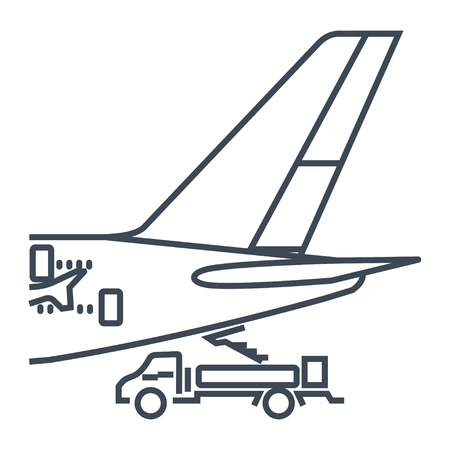 thin line icon airplane on service, maintenance, rear view of the tail
